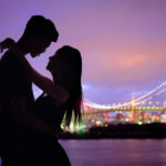 silhouette romantic lovers with Odaiba